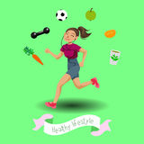 Cute running girl. In cartoon style. Healthy lifestyle Stock Images