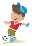 Cute Running Soccer Boy Royalty Free Stock Image