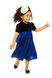 Cute running two yeas old black girl. Cute running black girl with curly frizzy hair, isolated on white Royalty Free Stock Images