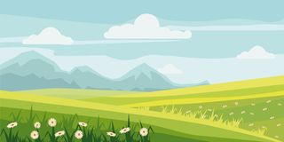 Cute rural landscape tree, field, daisy flowers, cartoon style, vector, illustration, isolated. Cute rural landscape tree, field, daisy flowers Royalty Free Stock Image
