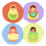 Cute Russian Doll Cartoon Set Vector Stock Photos