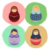 Cute Russian Doll Cartoon Set Vector Stock Images