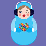 Cute Russian Matryoshka Doll Holding A Colorful Heart. Winter Vector Illustration Stock Photography