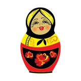 Cute Russian traditional nesting doll vector illustration. Yellow, black and red matryoshka babushka isolated on white background Royalty Free Stock Image