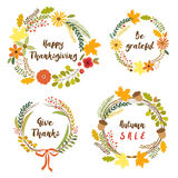 Cute rustic hand drawn wreath with nature elements in traditional autumn colors. For your decoration Royalty Free Stock Photos