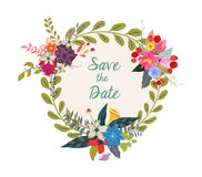 Cute rustic wreath with hand drawn flowers and hand written text Save the Date Stock Photo