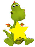 Cute 3s cartoon dragon with a star Stock Image