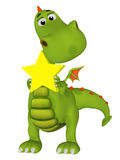 Cute 3s cartoon dragon with a star Royalty Free Stock Images
