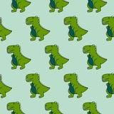 Cute 90s dinosaurs green seamless vector pattern. vector illustration
