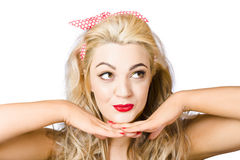 Cute 1960s pin-up lady with cosmetic thought Royalty Free Stock Photos