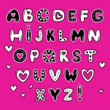 Cute 80s style Happy Valentines Day typography. Cute 80s style Happy Valentines Day hand drawn alphabet letters typography Royalty Free Stock Image
