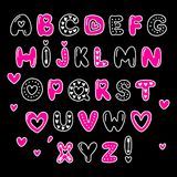 Cute 80s style Happy Valentines Day typography. Cute 80s style Happy Valentines Day hand drawn alphabet letters typography Royalty Free Stock Photography