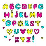 Cute 80s style Happy Valentines Day typography. Cute 80s style Happy Valentines Day hand drawn alphabet letters typography Stock Images