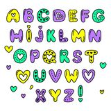 Cute 80s style Happy Valentines Day typography. Cute 80s style Happy Valentines Day hand drawn alphabet letters typography Stock Photo