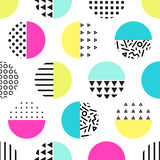 Cute 80`s style seamless geometric pattern with circles. For your decoration Stock Illustration