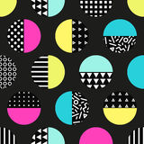 Cute 80`s style seamless geometric pattern with circles. For your decoration Vector Illustration