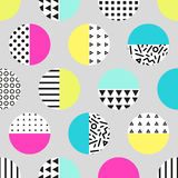 Cute 80`s style seamless geometric pattern with circles. For your decoration Royalty Free Illustration