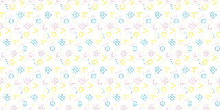 Cute 80`s style seamless geometric pattern Royalty Free Stock Images