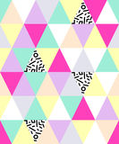 Cute 80`s style seamless geometric pattern with triangles. For your decoration Vector Illustration