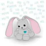 Cute sad bunny robot miss you. Cute felt bunny robot plush toy with heart Valentines Day miss you a day sitting. Sad robot, robot illustration on a light Royalty Free Stock Photos