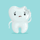 Cute sad cavity cartoon tooth character, childrens dentistry, dental care concept vector Illustration Royalty Free Stock Photo