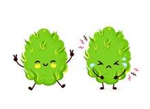 Cute sad cry scary paranoid and happy marijuana. Weed bud.Vector flat cartoon character illustration icon design. Isolated on white background.Weed bud,paranoia royalty free illustration