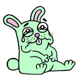 Cute sad green hare. Vector illustration. royalty free stock image
