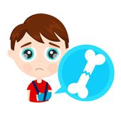 Cute sad little boy kid child with broken arm bone. In plaster infographic concept. Vector modern flat style cartoon character illustration. Isolated on white stock illustration