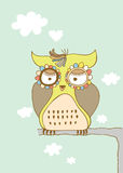Cute Sad Owl. Owl design with cute detail like the heart shaped cloud and flower eyes Royalty Free Stock Photo