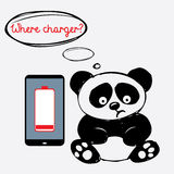 Cute sad panda with a smartphone that is discharged Stock Photos