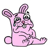 Cute sad pink rabbit in tears is sitting. Vector illustration. royalty free stock image
