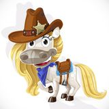 Cute saddled white Horse in a cowboy hat Stock Photos