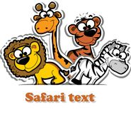 With cute safari animal,vector Royalty Free Stock Photo