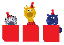 Cute safari animals with red christmas banners. Happy animals holding blank banners for your christmas party vector illustration