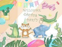 Cute safari watercolor cartoon animals border with cloud shaped copy space for kids party invitation card template. Cute safari cartoon animals border with cloud royalty free stock images