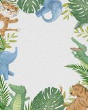 Cute safari watercolor cartoon animals border with cloud shaped copy space for kids party invitation card template royalty free illustration