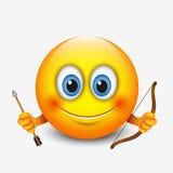 Cute Sagittarius Emoticon, Emoji - Astrological Sign - Horoscope - Zodiac - Vector Illustration Royalty Free Stock Photos