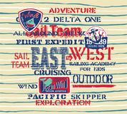 Cute sailing team kids crew. Grunge vector print with embroideries  for children wear Stock Photography
