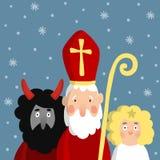 Cute Saint Nicholas with devil, angel and falling snow. Christmas invitation card,  illustration. Stock Photos