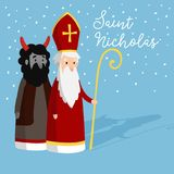 Cute Saint Nicholas with devil and falling snow. Christmas invitation card, vector illustration, winter background. Cute Saint Nicholas with devil and falling Royalty Free Stock Photo