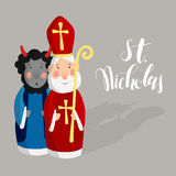 Cute Saint Nicholas with devil, lettering text.  Royalty Free Stock Images