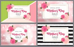 Cute Sale Background with Flowers. Collection Set of Cards.  Vector Illustration Royalty Free Stock Photos