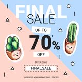 Cute sale banners with embroidery cactus. Business offer for social media, email newsletter or web ads. Fun design in pastel colors and cartoon style. Vector Royalty Free Stock Photography