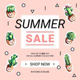 Cute sale banners with embroidery cactus. Business offer for social media, email newsletter or web ads. Fun design in pastel colors and cartoon style. Vector Royalty Free Stock Images