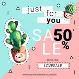 Cute sale banners with embroidery cactus. Business offer for social media, email newsletter or web ads. Fun design in pastel colors and cartoon style. Vector Stock Photo