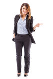 Cute salesperson pointing right Stock Photo