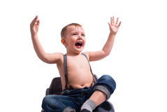 Cute samall boy  on white Royalty Free Stock Images