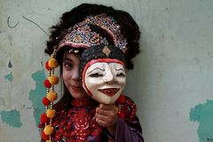 A cute samba dancer from cirebon. Tari topeng samba, the excitement of childhood. cirebon culture. indonesia royalty free stock images