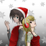 Cute Santa boy and girl. With snowflake background Royalty Free Stock Photos