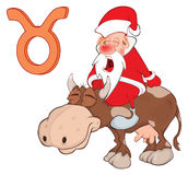 Cute Santa Claus. Astrological Sign in the Taurus Royalty Free Stock Photos